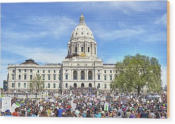 Wood Print featuring the photograph March For Science  Minnesota 2017 by Jim Hughes