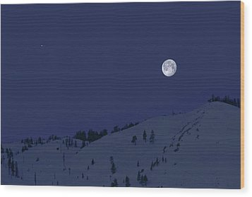 Wood Print featuring the photograph March Moon With Jupiter by Donna Kennedy