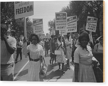 March On Washington. African Americans Wood Print by Everett