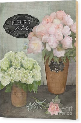 Wood Print featuring the painting Marche Aux Fleurs 2 - Peonies N Hydrangeas by Audrey Jeanne Roberts