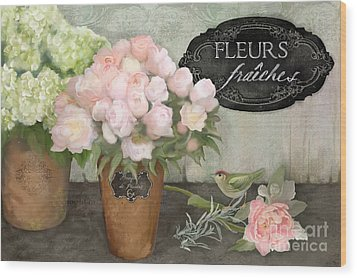 Wood Print featuring the painting Marche Aux Fleurs 2 - Peonies N Hydrangeas W Bird by Audrey Jeanne Roberts