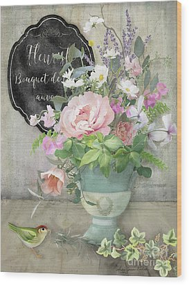 Wood Print featuring the painting Marche Aux Fleurs 3 Peony Tulips Sweet Peas Lavender And Bird by Audrey Jeanne Roberts