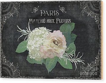 Wood Print featuring the painting Marche Aux Fleurs 4 Vintage Style Typography Art by Audrey Jeanne Roberts