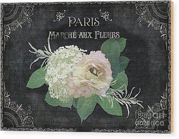 Marche Aux Fleurs 4 Vintage Style Typography Art Wood Print by Audrey Jeanne Roberts