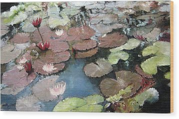 Marcia's Lillies Wood Print by Anita Stoll