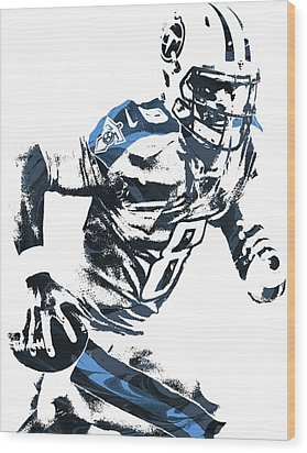 Wood Print featuring the mixed media Marcus Mariota Tennesse Titans Pixel Art 2 by Joe Hamilton