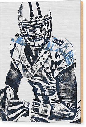 Marcus Mariota Tennessee Titans Pixel Art 3 Wood Print by Joe Hamilton
