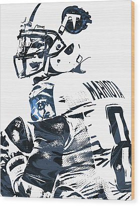 Wood Print featuring the mixed media Marcus Mariota Tennessee Titans Pixel Art by Joe Hamilton