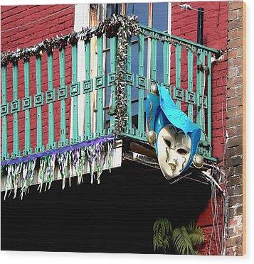 Mardi Gras Balcony Wood Print