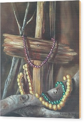 Wood Print featuring the painting Mardi Gras Beads And Hurricane Katrina by Randol Burns