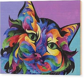 Mardi Gras Cat Wood Print by Sherry Shipley