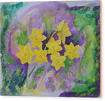 Mardi Gras Daffodils Wood Print by Margaret Bobb