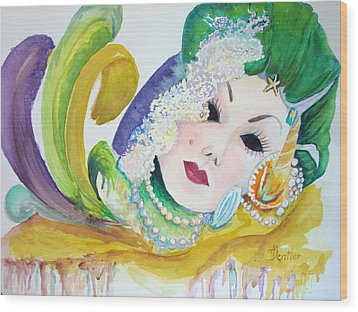 Wood Print featuring the painting Mardi Gras Elegance by AnnE Dentler