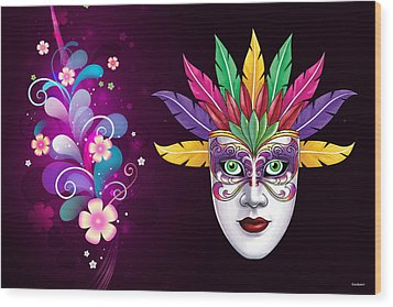 Wood Print featuring the photograph Mardi Gras Mask On Floral Background by Gary Crockett