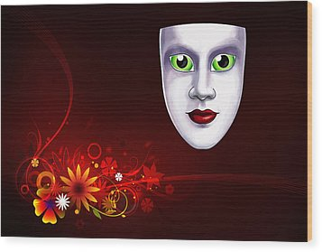 Mardi Gras Mask Red Vines Wood Print by Gary Crockett