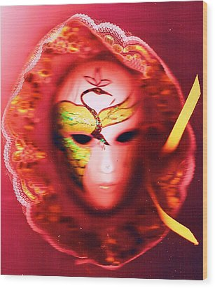 Mardi Gras Mystery Girl Revisited Wood Print by Anne-Elizabeth Whiteway