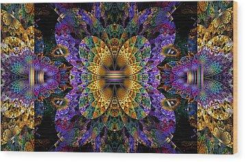 Mardi Gras Split Crop Wood Print by Peggi Wolfe