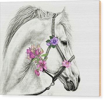 Mare With Flowers Wood Print