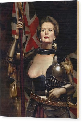 Margaret Thatcher Nude Wood Print by Karine Percheron-Daniels