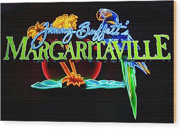 Margaritaville Neon Wood Print