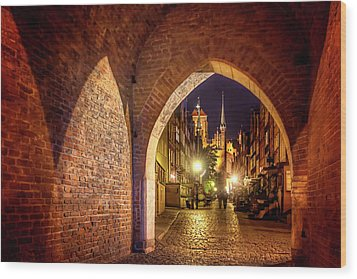 Wood Print featuring the photograph Mariacka By Night  by Carol Japp