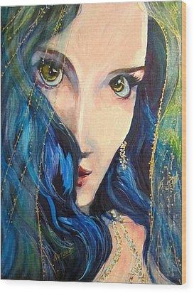 Mariah Blue Wood Print