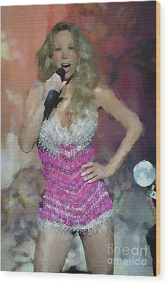 Mariah Carey Oil Painting Enlargements Wood Print