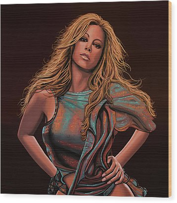 Mariah Carey Painting Wood Print by Paul Meijering