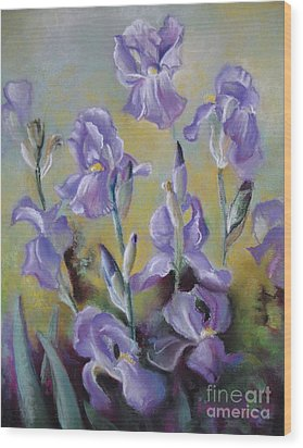 Maria's Irises Wood Print