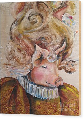 Wood Print featuring the painting Marie Pigtoinette by Christy  Freeman