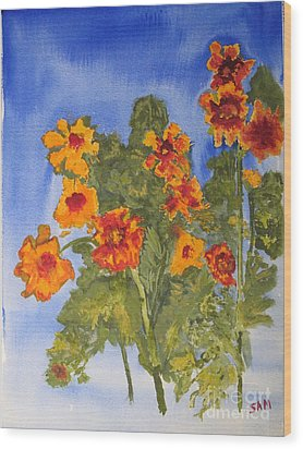 Wood Print featuring the painting Marigolds by Sandy McIntire