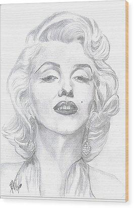 Wood Print featuring the drawing Marilyn  by Carol Wisniewski