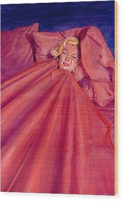 Marilyn In Bed Wood Print by Ken Meyer jr