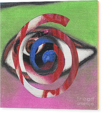 Marilyn Manson Eye Spiral Wood Print