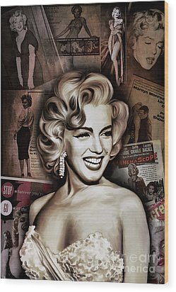 Wood Print featuring the painting   Marilyn Monroe 4  by Andrzej Szczerski