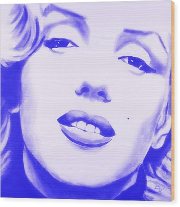 Wood Print featuring the painting Marilyn Monroe - Blue Tint by Bob Baker