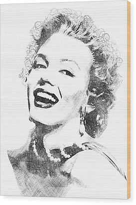Marilyn Monroe Bw Portrait Wood Print by Mihaela Pater