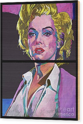 Marilyn Monroe Dyptich Wood Print by David Lloyd Glover