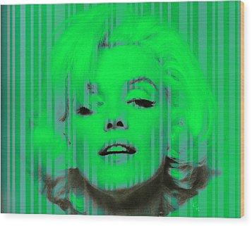 Marilyn Monroe In Green Wood Print