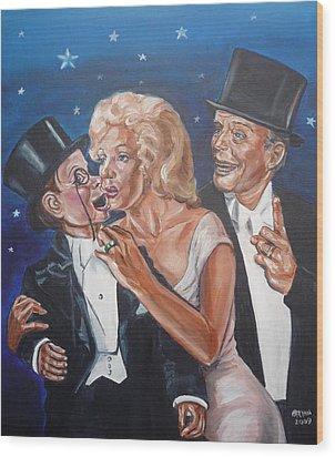 Wood Print featuring the painting Marilyn Monroe Marries Charlie Mccarthy by Bryan Bustard