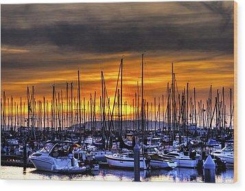 Marina At Sunset Wood Print