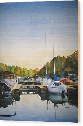 Marina Morning Wood Print