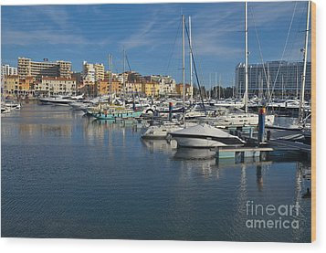 Marina Of Vilamoura At Afternoon Wood Print by Angelo DeVal