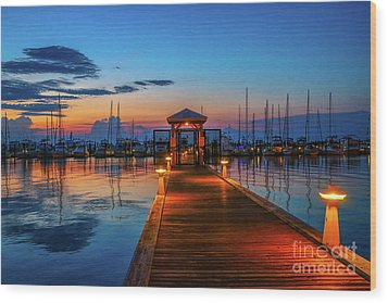 Marina Sunrise Wood Print by Tom Claud