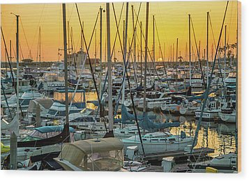 Wood Print featuring the photograph Marina Sunset by April Reppucci