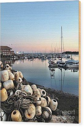 Marina Sunset Wood Print by Extrospection Art