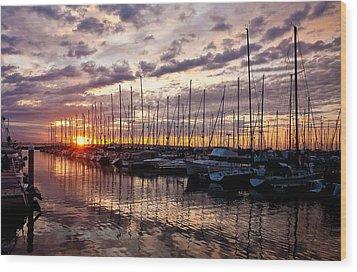 Marina Sunset Wood Print by Mike Reid