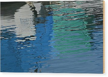 Marina Water Abstract 1 Wood Print by Fraida Gutovich