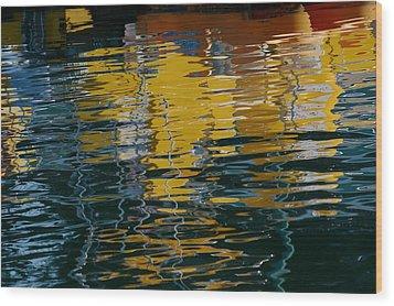 Marina Water Abstract 2 Wood Print by Fraida Gutovich