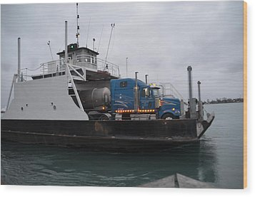 Marine City Mich Car Truck Ferry Wood Print by Randy J Heath